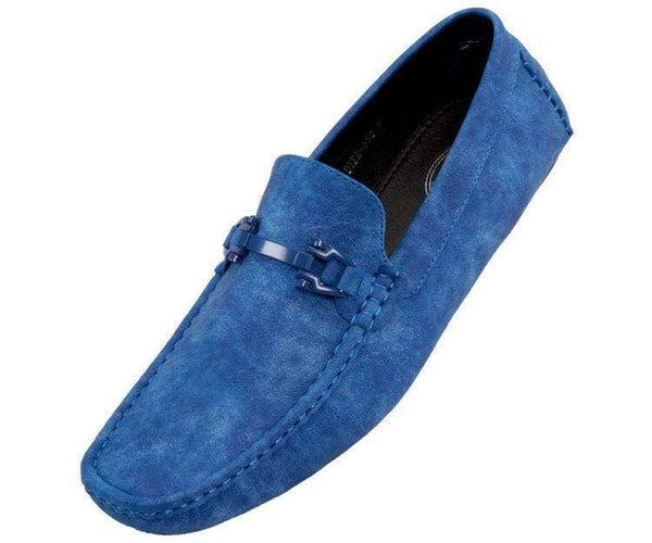 Dysion Mens Casual Smooth Comfortable Faux Leather Driver Shoe Driving Shoes Blue / 10