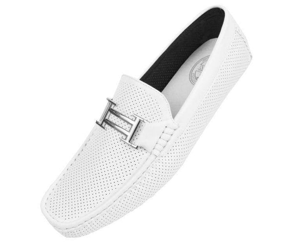 Harris Perforated Smooth Driving Shoe Driving Shoes White / 10