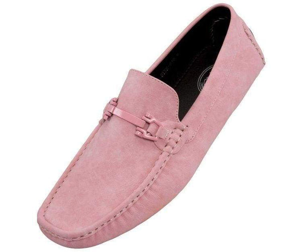 Dysion Mens Casual Smooth Comfortable Faux Leather Driver Shoe Driving Shoes Pink / 10