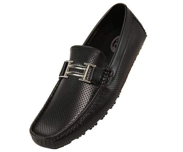 Harry Perforated Colored Smooth Driving Moccasin Driving Moccasins Black / 10