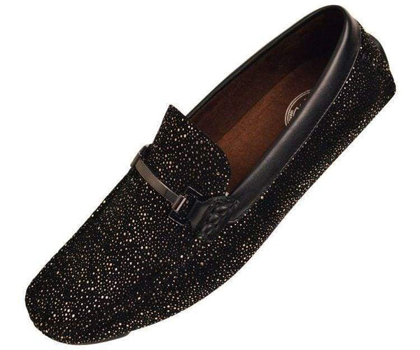 Brogan Metallic And Black Speckled Driving Shoe Driving Moccasins Black/gold / 10
