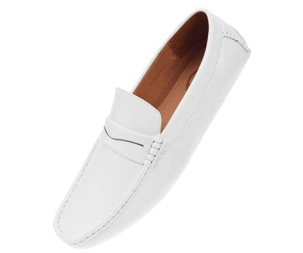 Donner Textured Penny Loafer Driver Driving Moccasins White / 10