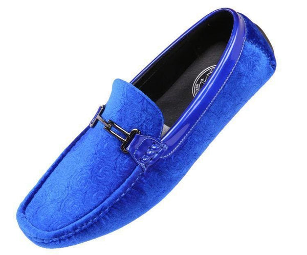 Roberto Embossed Velvet And Patent Driving Moccasin Driving Moccasins Royal Blue / 10