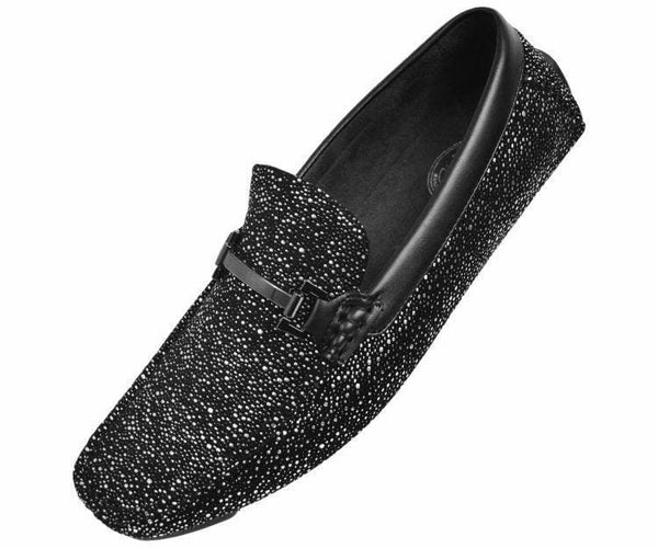 Brogan Metallic And Black Speckled Driving Shoe Driving Moccasins Black/silver / 10