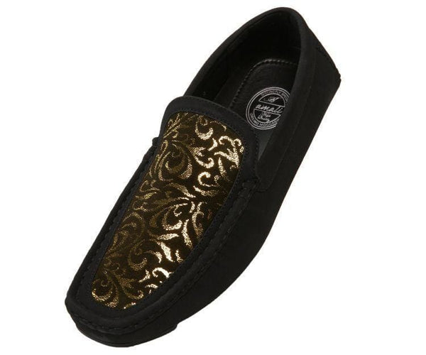 Brunswick Dress Loafer With Metallic Paisley Print Driving Moccasins Black/gold / 10