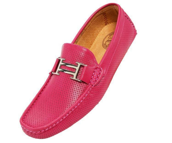 Harry Perforated Colored Smooth Driving Moccasin Driving Moccasins Fuchsia / 10