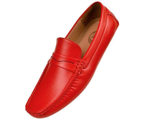 Donner Textured Penny Loafer Driver Driving Moccasins Red / 10