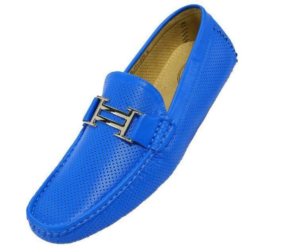 Harry Perforated Colored Smooth Driving Moccasin Driving Moccasins Royal Blue / 10