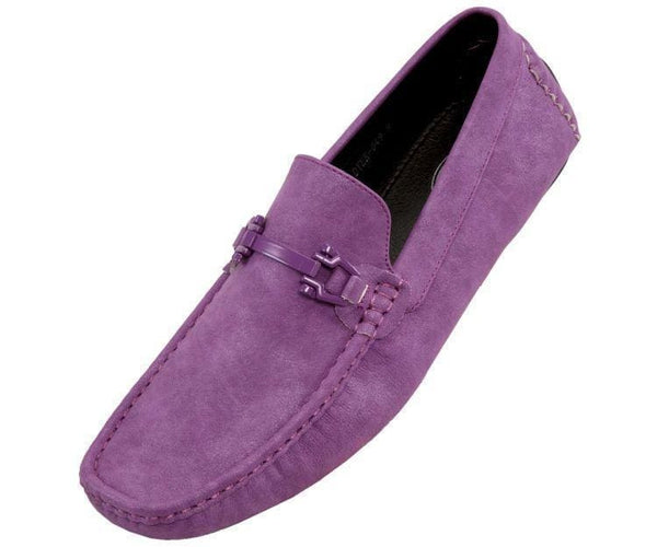 Dysion Mens Casual Smooth Comfortable Faux Leather Driver Shoe Driving Shoes Purple / 10