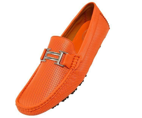 Harry Perforated Colored Smooth Driving Moccasin Driving Moccasins Orange / 10