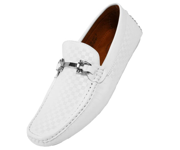 Sq-Roland Square Printed Smooth Drive Moccasin Drive Shoes White / 10