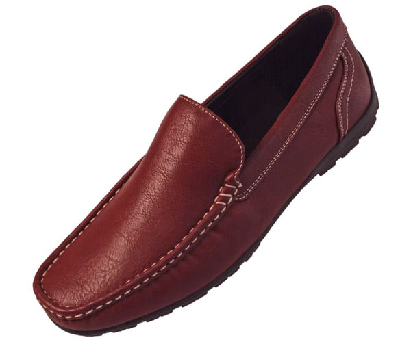 Lloyd Mens Casual Smooth Faux Leather Driving Shoes Driving Moccasins 10 / Burgundy