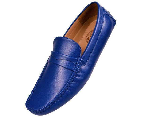 Donner Textured Penny Loafer Driver Driving Moccasins Royal Blue / 10