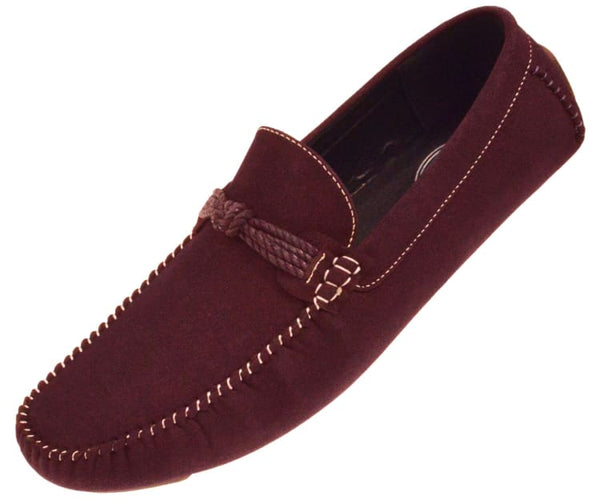 Knotter Plush Microfiber Faux Suede Loafer Driving Shoe Driving Shoes Burgundy / 10