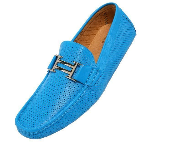 Harry Perforated Colored Smooth Driving Moccasin Driving Moccasins Turquoise / 10