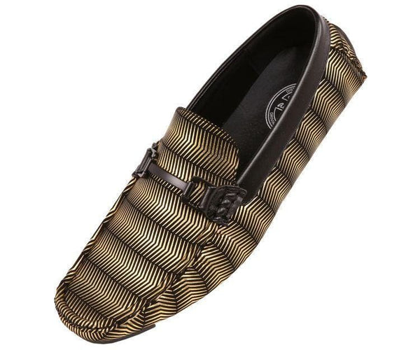 Slink Metallic And Black Patterned Driver Driving Moccasins Gold / 10