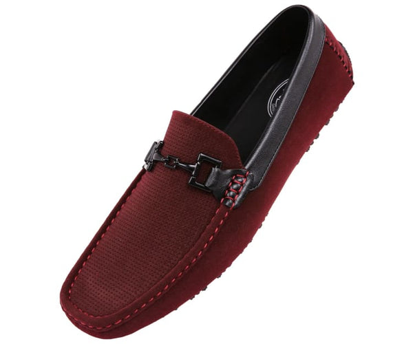 Sanders Mens Embossed Smooth Classic Driver Driving Moccasins Burgundy / 10