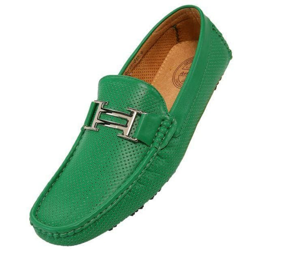 Harry Perforated Colored Smooth Driving Moccasin Driving Moccasins Green / 10