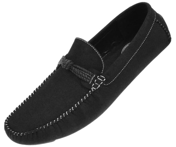 Knotter Plush Microfiber Faux Suede Loafer Driving Shoe Driving Shoes Black / 10