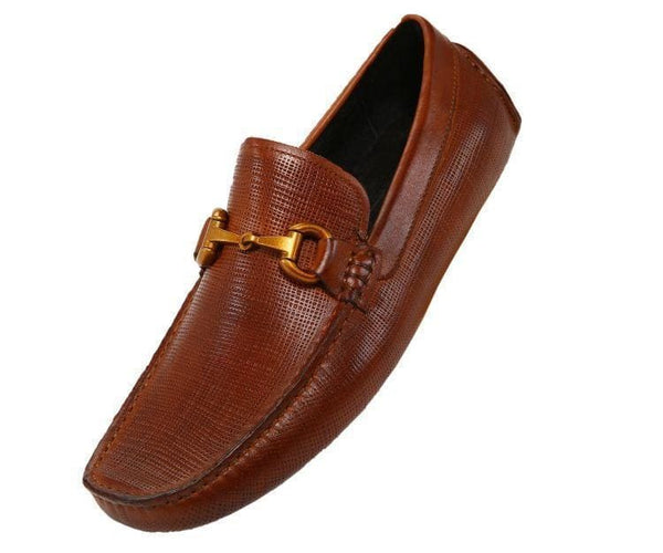Ag7957 Embossed Leather Drive With Metal Horsebit Ornament Drive Shoes Cognac / 10