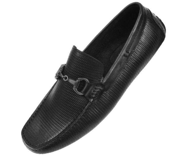 Ag8694 Embossed Leather Drive With Gunmetal Horsebit Ornament Drive Shoes Black / 10