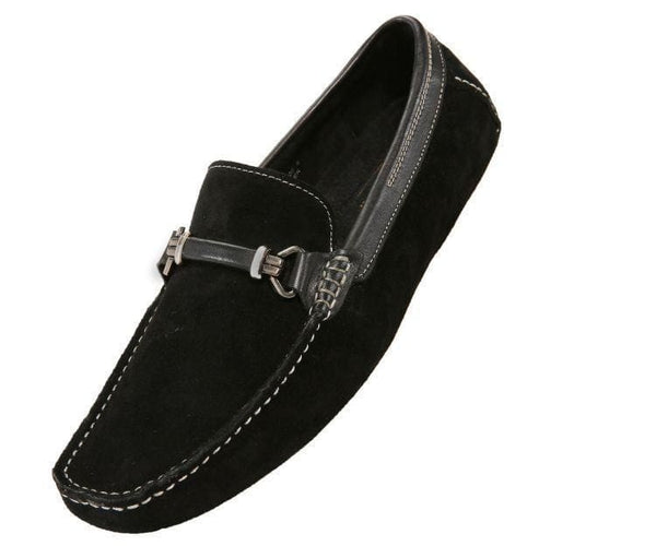 Ag7038 Suede Drive Moc With Burnished Calf Leather Trim Drive Black / 10