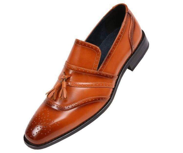 Charley Smooth Cap Toe Dress Shoe With Tassel And Perforation Detail Loafer Tan / 10