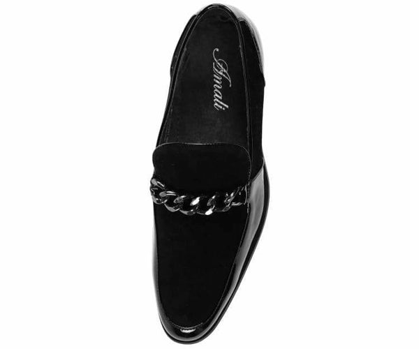 Vino-Polished-Black Black Patent With Gold Chain Slip On Dress Shoe Loafers