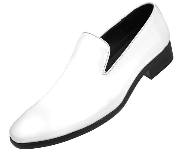 Amali Men's Patent High Shine Faux Leather Slip On Tuxedo Dress Shoe, Style Degas Black