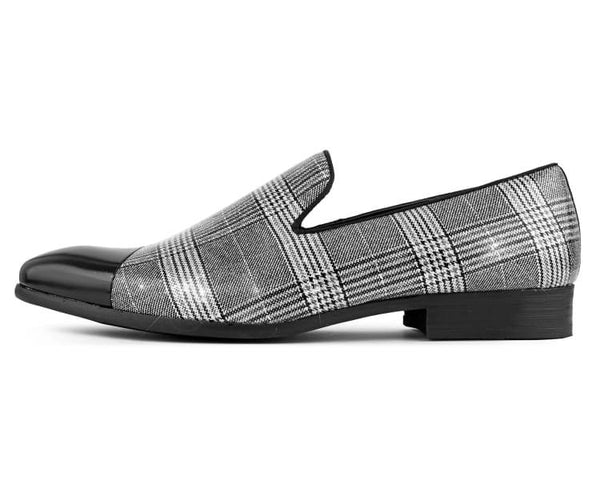 Amali Men's Sparkly Black and White Plaid Shimmering Slip On Loafer with Black Metal Toe Dress Shoe, Style Basset