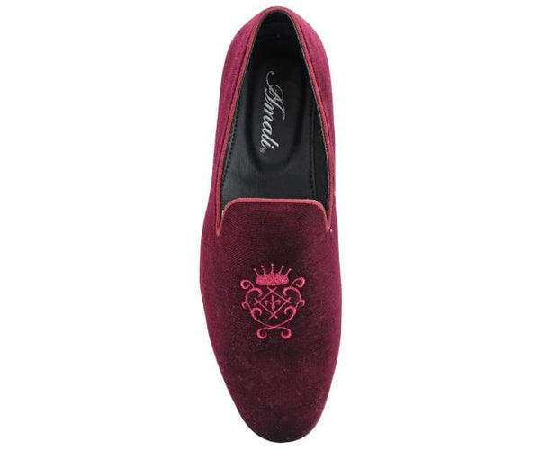 Amali Men's Faux Leather & Velvet Smoking Slipper with Embroidered Embellishment Dress Shoe, Style Makins