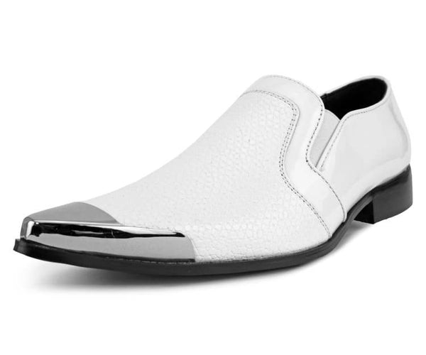 Amali Men's Reptile Patterned Exotic Patent Embossed Slip on Dress Shoe with Gun Metal Tip, Style Davis White