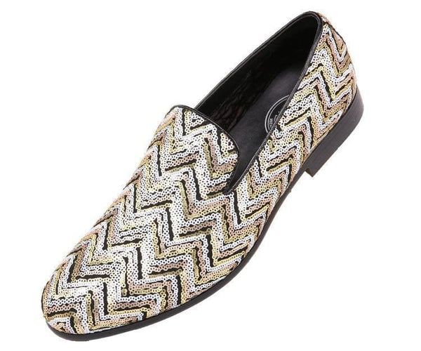 Chevy Sequin Chevron Patterned Smoking Slipper Slips Black/gold / 10