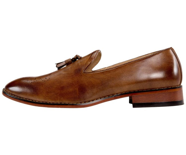 Amali Mens Classic Slip On Dress Shoes with Smooth Burnished Slip and Embossed Moc Toe Loafers