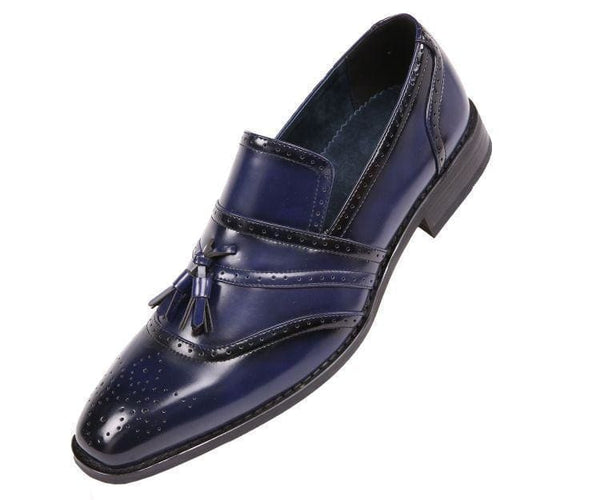 Charley Smooth Cap Toe Dress Shoe With Tassel And Perforation Detail Loafer Navy / 10