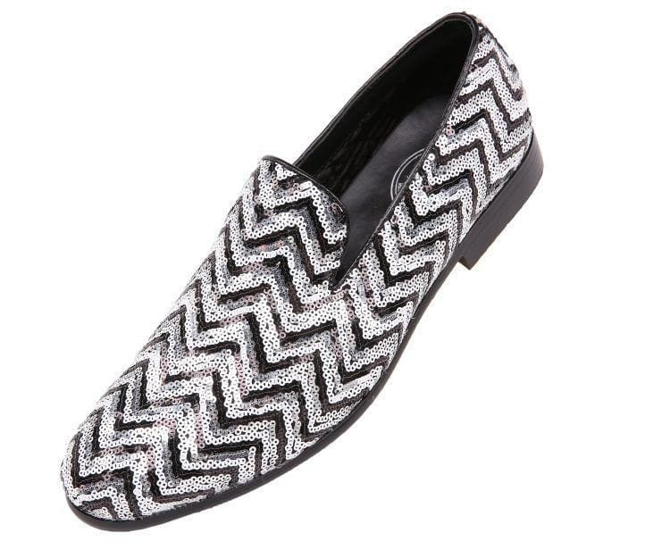 6bfa6f53be7 Chevy Sequin Chevron Patterned Smoking Slipper Slips Black silver   10