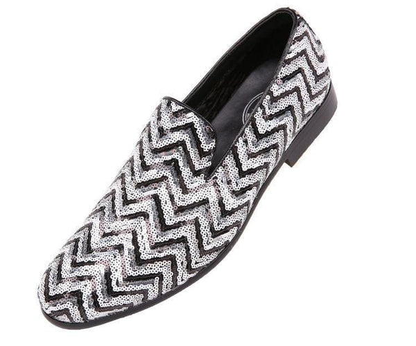 Chevy Sequin Chevron Patterned Smoking Slipper Slips Black/silver / 10