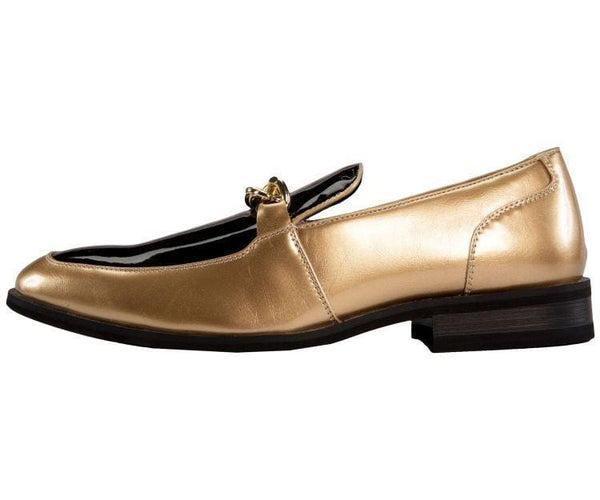 Gino Patent Slip On Dress Shoe With Large Chain Loafer
