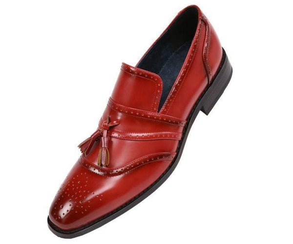 Charley Smooth Cap Toe Dress Shoe With Tassel And Perforation Detail Loafer Burgundy / 10