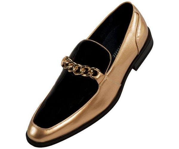 Gino Patent Slip On Dress Shoe With Large Chain Loafer Black/gold / 10