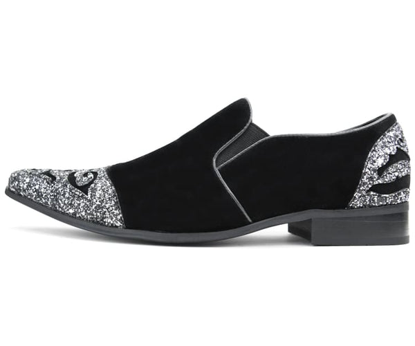 Amali Men's Faux Velvet Embellished Loafer with Metallic Sparkle Toe & Heel Slip On Dress Shoe, Style Bannon
