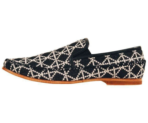 Trey Black Denim With White Embroidery Slip On Dress Loafer Loafer