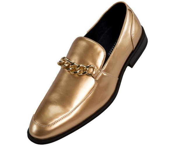 Gino Patent Slip On Dress Shoe With Large Chain Loafer Gold / 10