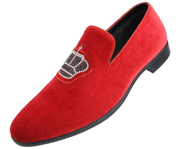 Amali Men's Faux Velvet Slip On Loafer with Royal Crown Ornament Adorned with Jewels Dress Shoe, Style Crown