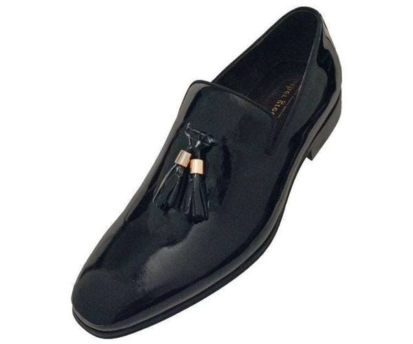 Ag8451-000 Black Patent Leather Slilp-On Loafers With Gold Tipped Tassels Loafers 10 / Black
