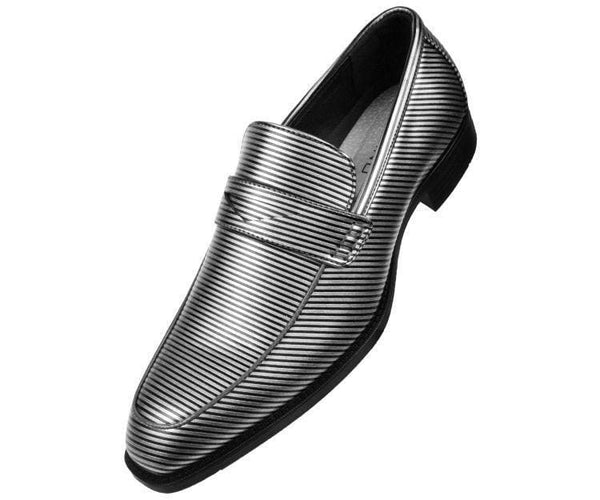 Henry Striped Penny Loafer Dress Shoe Loafs Silver / 10