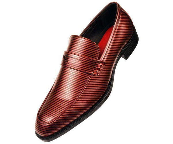 Henry Striped Penny Loafer Dress Shoe Loafs Burgundy / 10