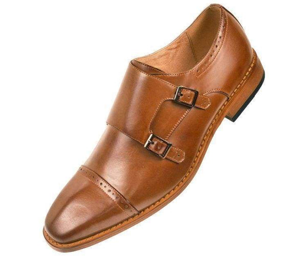 Baker High Gloss Smooth Double Monk Strap Captoe Dress Shoe Monk Tan / 7