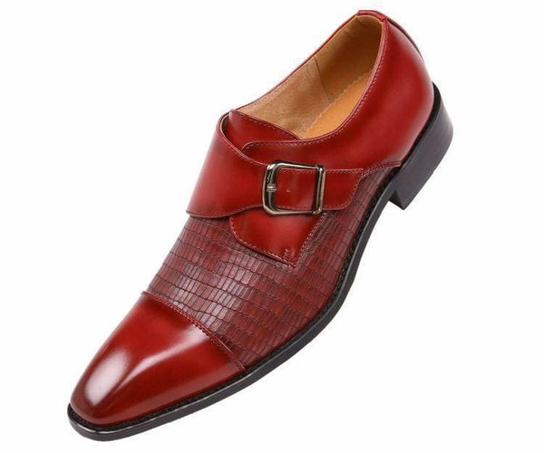 Bressler One Strap Cap Toe Monk With Embossed Vamp Mens Dress Shoe Monk Straps Red / 10