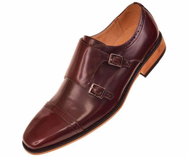 Baker High Gloss Smooth Double Monk Strap Captoe Dress Shoe Monk Burgundy / 10